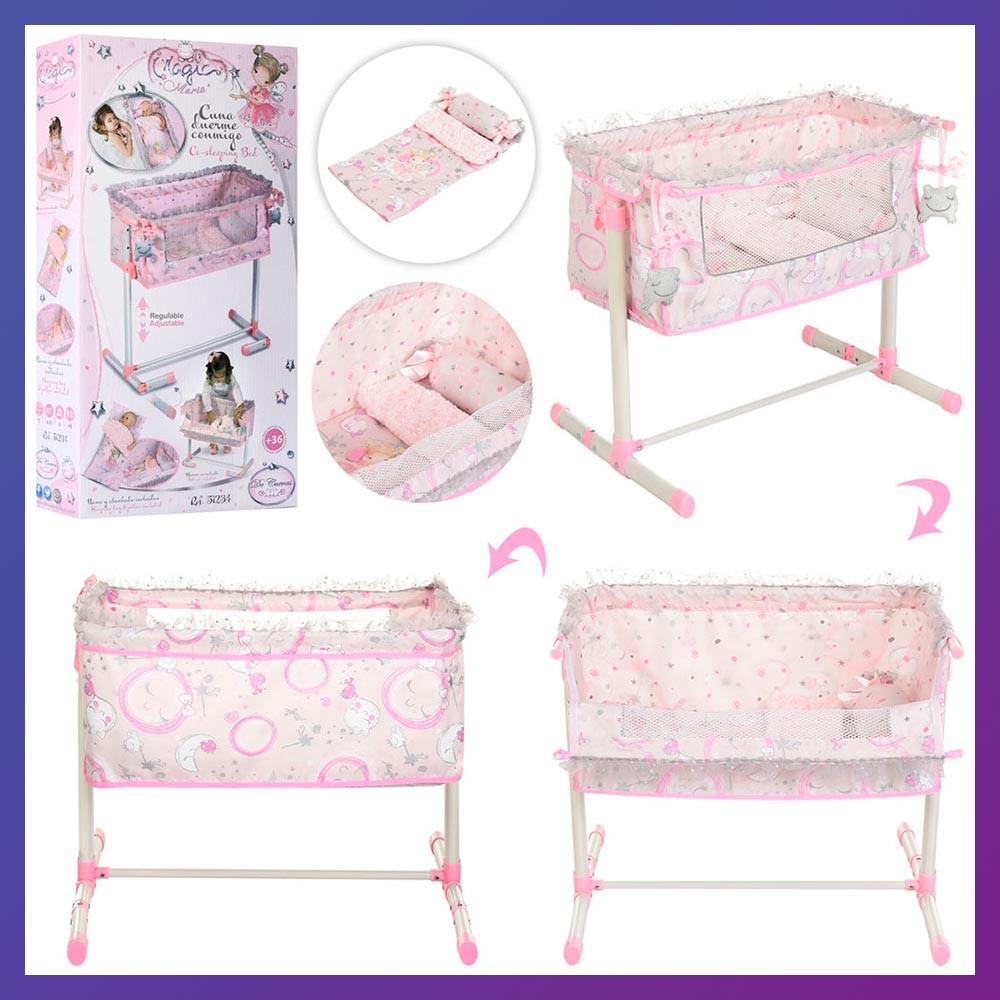 Игрушечная кроватка манеж для куклы DeCuevas 51234 кроватка для ляльки розовая