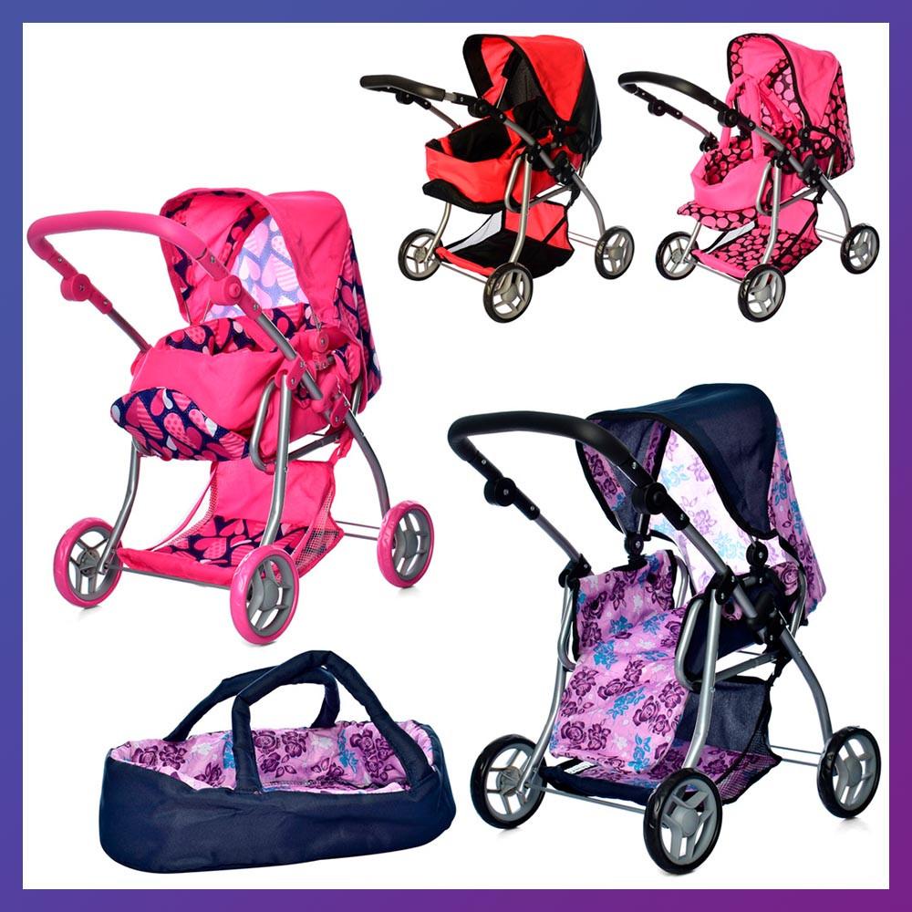 Игрушечная коляска для куклы 4в1 коляска прогулочная + спальная и переноска Melogo 9672 Коляска для ляльки