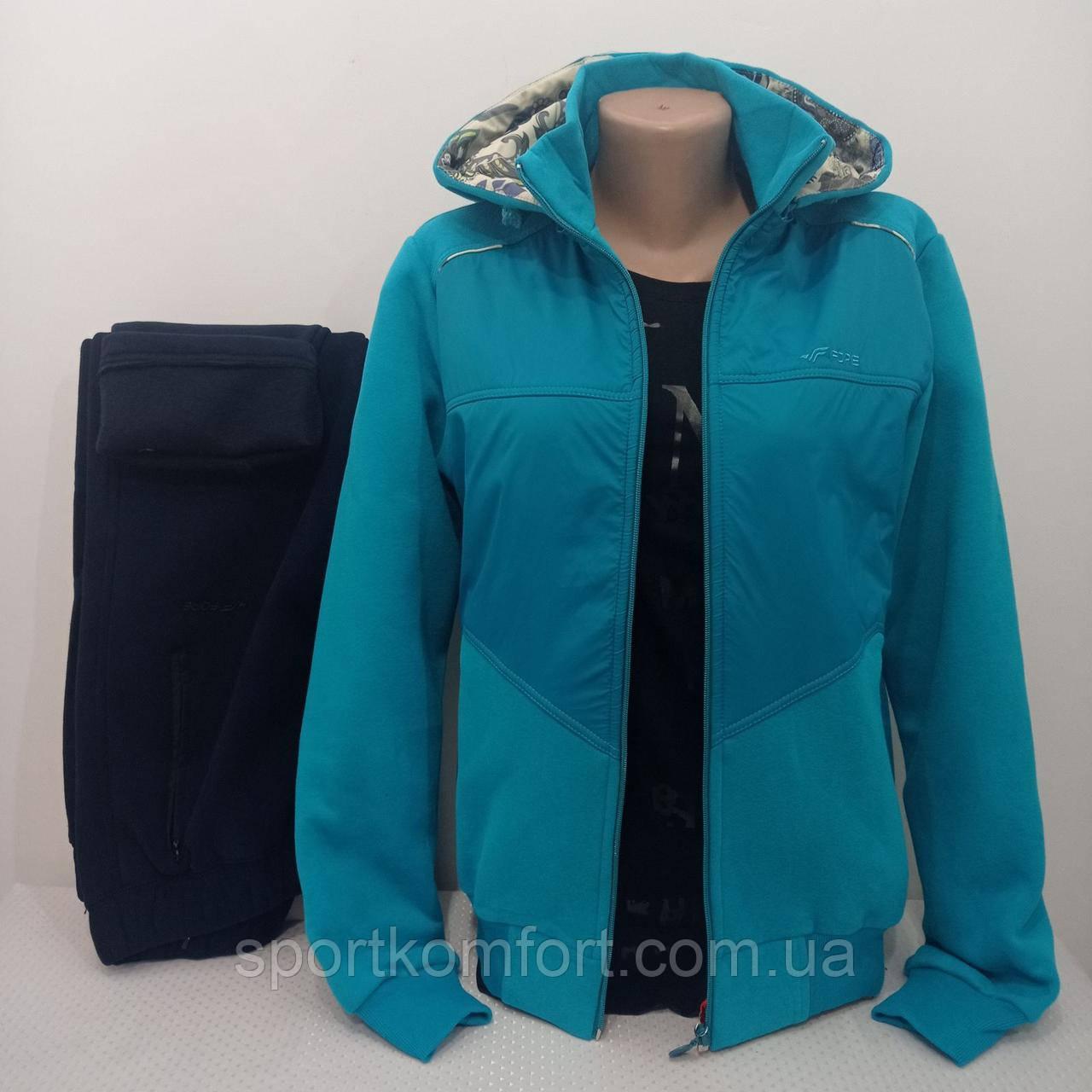 Тёплый женский спортивный костюм FORE  Турция тринитка хлопок 70 брюки прямые капюшон съёмный размеры 2хл 3хл