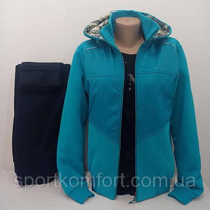 Тёплый женский спортивный костюм FORE  Турция тринитка хлопок 70 брюки прямые капюшон съёмный размеры 2хл 3хл, фото 2