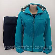 Тёплый женский спортивный костюм FORE  Турция тринитка хлопок 70 брюки прямые капюшон съёмный размеры 2хл 3хл, фото 3