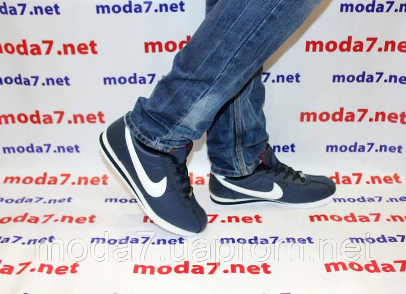 Кроссовки мужские синие Nike Cortez нат. кожа реплика