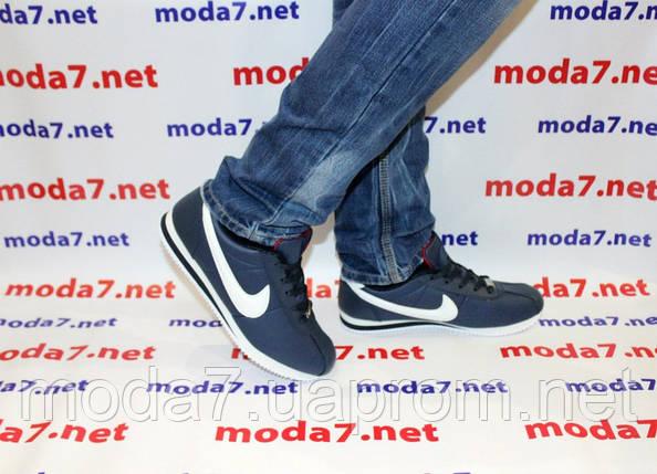 Кроссовки мужские синие Nike Cortez нат. кожа реплика, фото 2