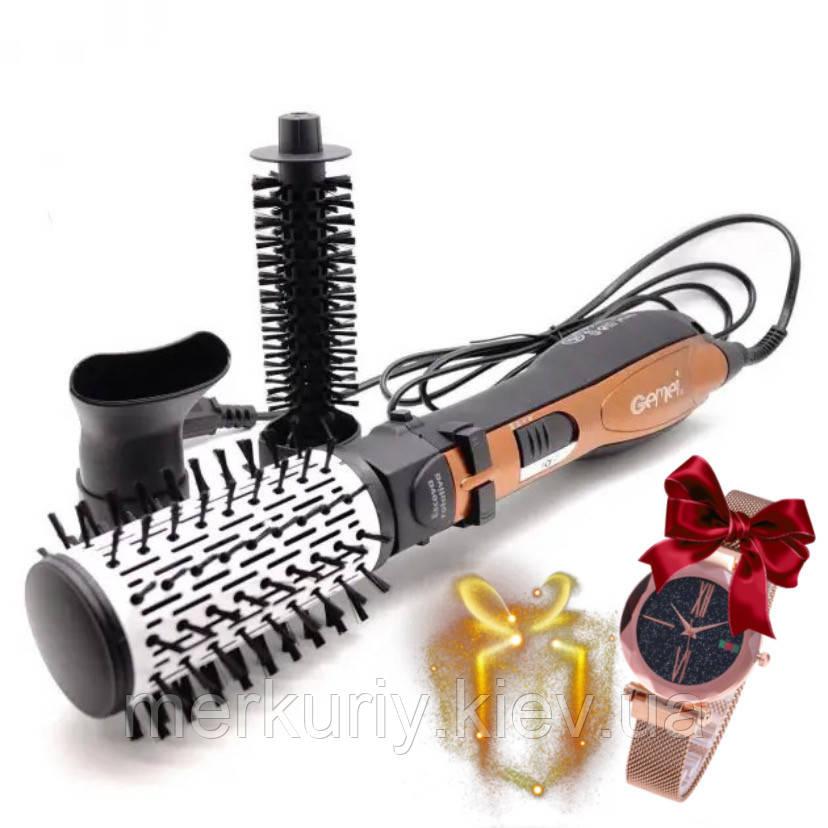 Стайлер 3в1 Gemei GM-4828  Вращающаяся воздушная фен щетка для волос Мультистайлер с насадками 1000Вт