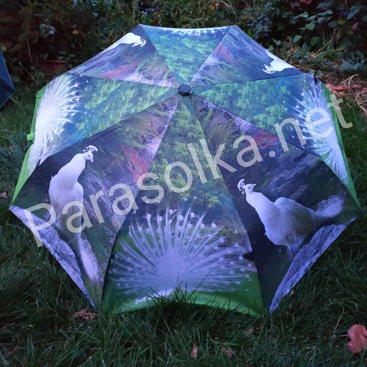 Женский зонт зеленый с изобр. павлина арт 3557а-6