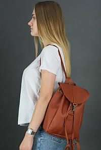 Жіночий шкіряний рюкзак Київ, розмір міні, натуральна шкіра Grand колір коричневый, оттенок Коньяк