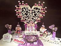 Кенди бар свадебный (Candy bar) в фиалковом цвете