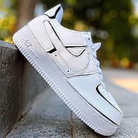 Жіночі кросівки Nike Air Force 1 Low Velcro White Black | Найк Аір Форс 1 Лоу Білі з чорним з патчами, фото 1
