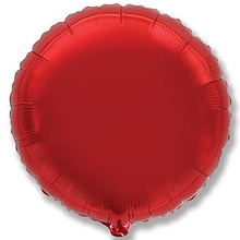 """Фольгированный шар круг красный 18"""" Flexmetal"""