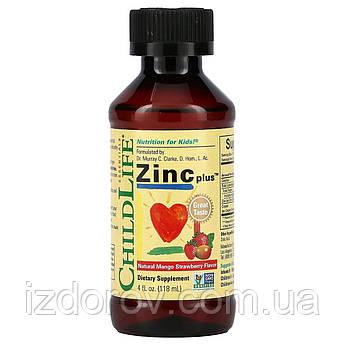 ChildLife Essentials, Цинк плюс, Zinc Plus, жидкий цинк для детей, натуральный вкус манго и клубники, 118 мл