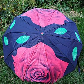 Зонт жіночий Чорний з червоною трояндою арт.301sd-5