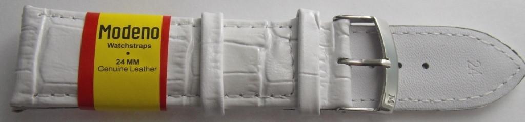 Ремешок кожаный MODENO (ИСПАНИЯ) 24 мм, белый