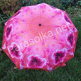Зонт жіночий рожевий з квітами арт. 605-1
