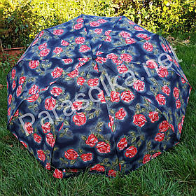 Зонт жіночий синій з червоними квітами Срібний дощ арт.1r-1