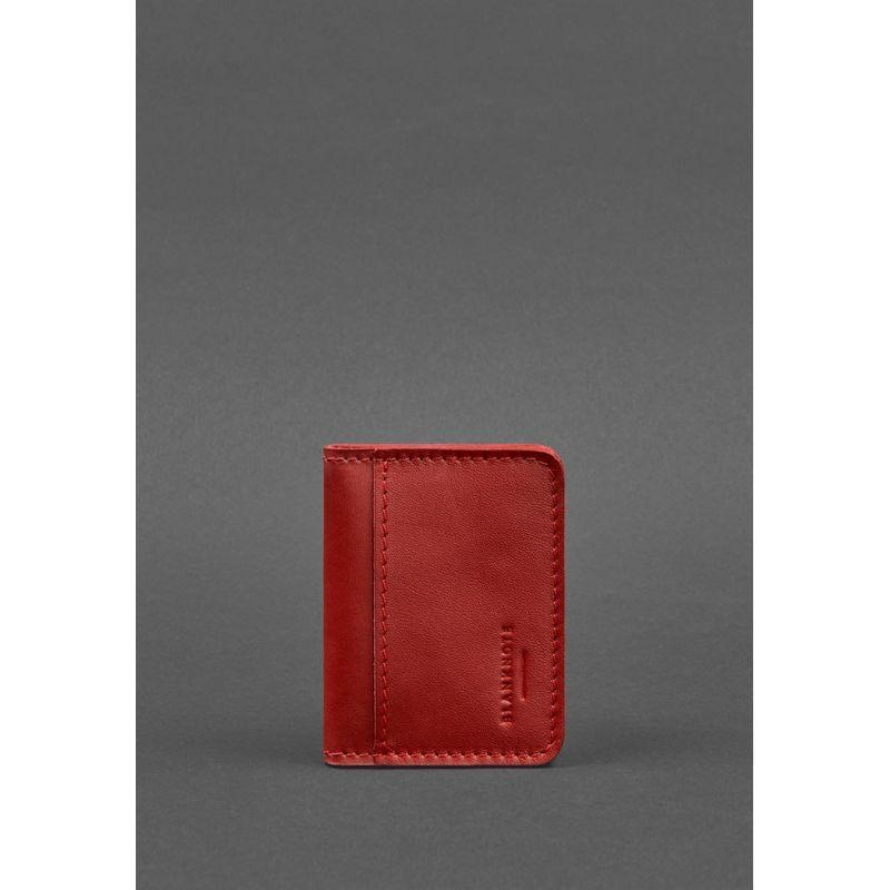 Женская кожаная обложка для ID-паспорта и водительских прав 4.0 красная