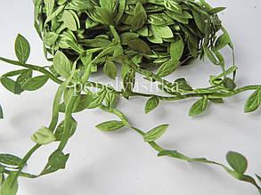 Декоративна стрічка з  листочками (тканинна) Зелена (1 м)