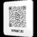 Настінна металева Instagram візитка з QR-кодом для офісу сріблястого кольору на липкій основі 300х300мм, фото 6