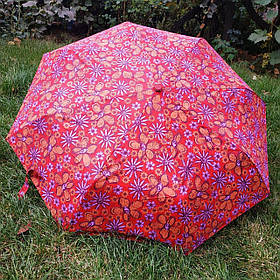 Зонт жіночий кораловий з квітковим принтом арт.3013-5