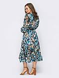 Шифонова сукня-міді з принтом і розкльошеною спідницею, фото 3