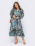 Шифонова сукня-міді з принтом і розкльошеною спідницею, фото 4