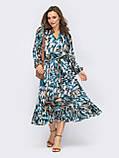 Шифонова сукня-міді з принтом і розкльошеною спідницею, фото 5