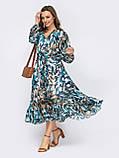 Шифонова сукня-міді з принтом і розкльошеною спідницею, фото 2