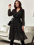 Шифонова сукня-міді з принтом і розкльошеною спідницею, фото 7