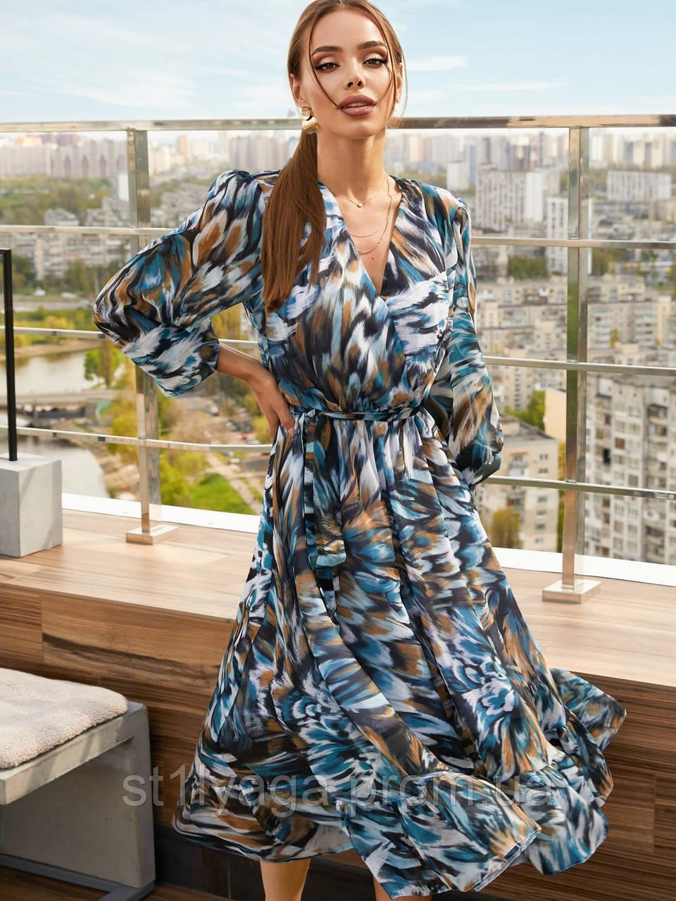 Шифонова сукня-міді з принтом і розкльошеною спідницею