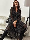 Шифонова сукня-міді з принтом і розкльошеною спідницею, фото 6