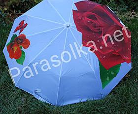 Зонт жіночий Білий з червоною трояндою арт 0153