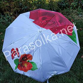 Зонт жіночий Білий з червоною трояндою арт 0155