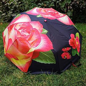 Зонт жіночий чорний з рожевою трояндою арт.808BF-1