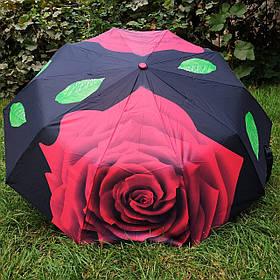 Зонт жіночий чорний з червоною трояндою арт.808BF-2