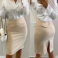 Модная деловая женская юбка-карандаш приталенная до колена по фигуре с разрезом сзади р-ры 42-44,46-48 арт 393