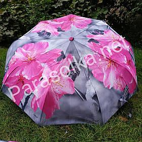 Зонт жіночий сірий з рожевим квіткою арт. 791-1