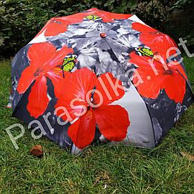 Зонт жіночий сірий з червоним квіточкою арт 791-2