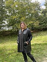 Пальто черное кожаное большого размера 58, 60, 62, фото 1