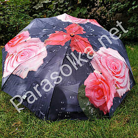 Зонт жіночий чорний з рожевою трояндою арт.791-3