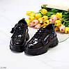 Дизайнерские черные лаковые глянцевые кожаные женские кроссовки натуральная кожа, фото 5