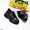 Дизайнерские черные лаковые глянцевые кожаные женские кроссовки натуральная кожа, фото 9
