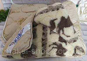 Одеяло верблюжья шерсть евро размер с мехом двустороннее в подарочной сумке О-905
