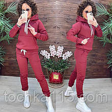Теплий спортивний костюм жіночий турецька трехнитка на флісі з капюшоном, жіночий спорт костюм теплий S/M/L/XL