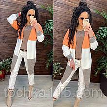 Женский трехцветный кардиган оранжевый/белый/серый ФИКС р. 42-46 длинный женский полушерстяной кардиган 110 см