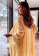 Женский вязаный ажурный кардиган БРИТНИ р. 42-48 кардиган женский желтый