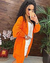 Женский легкий кардиган МЕДИА оранжевый р. 42-48 материал: Хлопок/Акрил, женский круживной кардиган
