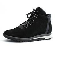 Зимние ботинки кроссовки на меху черные нубук мужская обувь Rosso Avangard Lion EL Black Vel