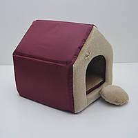 Домик для котов и собак Мех №3 385х480х430, Бордовый ск2