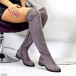 Высокие серые замшевые женские сапоги ботфорты на низком каблуке