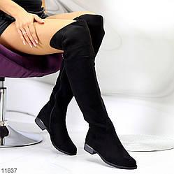 Высокие черные замшевые женские сапоги ботфорты сезон деми низкий ход