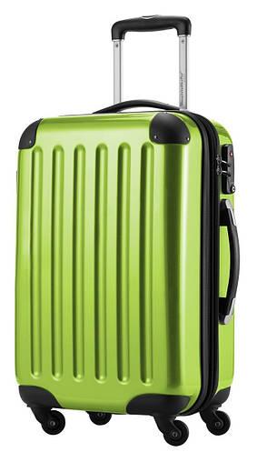 Качественный малый 4-колесный яркий чемодан из поликарбоната 45 л. HAUPTSTADTKOFFER alex mini apple салатовый